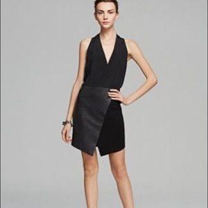 Tibi | 8 | Leather/Silk Asymmetrical Wrap Dress